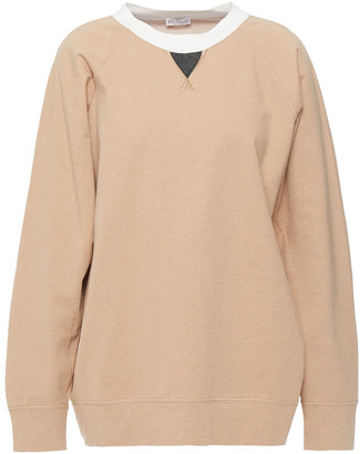 Brunello Cucinelli Bead-embellished Melange French Cotton-blend Terry Sweatshirt