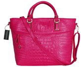 Greeniris Ladies PU Leather Top-handle Handbags Business Crocodile Pattern Satchel Shoulder Bags Totes Purse for Women