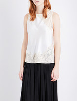 Elizabeth and James Fiora floral-lace and silk-satin top