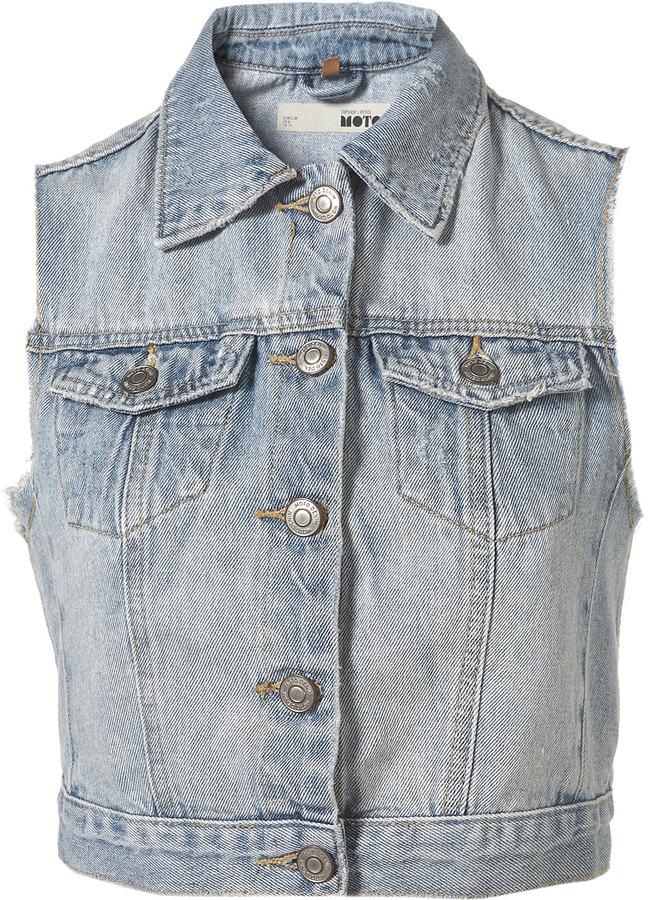Topshop Petite Sleeveless Denim Jacket