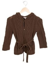 Bonpoint Girls' Hooded Cable Knit Sweater