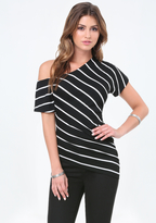 Bebe Striped Asymmetric Tee
