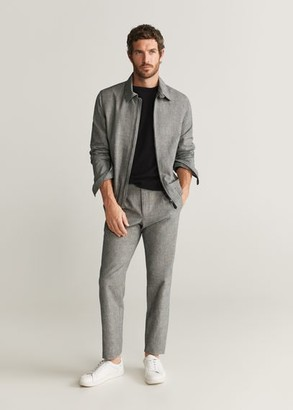 MANGO MAN - Checked cotton linen jacket medium heather grey - S - Men