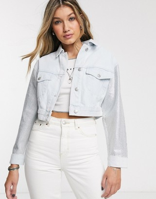 Topshop pinstud denim jacket in bleach wash