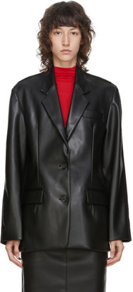 pushBUTTON Black Faux-Leather and Denim Blazer