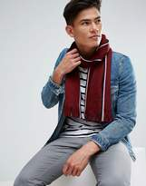 Tommy Hilfiger Edge Stripe Scarf Raschel In Wine Red