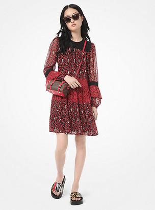 Michael Kors Mixed Floral Leaf-Print Georgette Dress