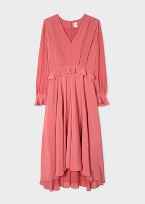 Paul Smith Women's Salmon Pink Silk V-Neck Ruffled Midi Dress