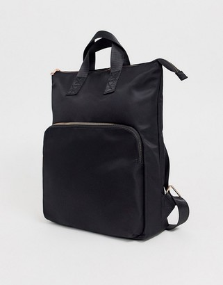 Asos Design DESIGN laptop backpack with rose gold detail-Black