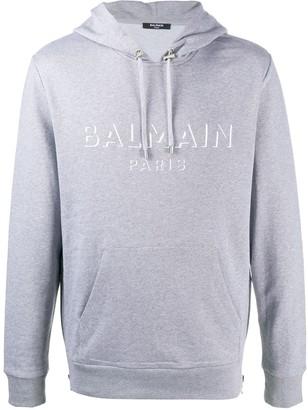 Balmain Logo Drawstring Hoodie