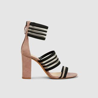 Alexandre Birman Pink Shadow Block Heel Suede Sandals IT 35