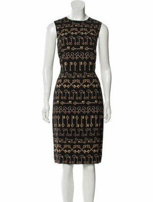 Dolce & Gabbana Printed Knee-Length Dress Black