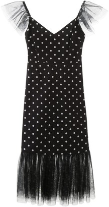 STAUD Polka-Dot Ruffled Tulle Dress