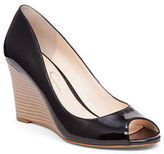 Jessica Simpson Lorion Faux Leather Peep Toe Wedges