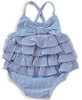 Mud Pie Baby Girls 6-18 Months Seersucker Bow Tiered One-Piece Swimsuit
