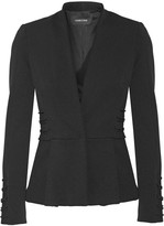 Cushnie et Ochs Lace-up Stretch-twill Peplum Blazer - Black