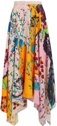 Saloni Freja Silk Floral Skirt