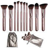 [Updated Version] Docolor Makeup Brushes Set Kabuki Foundation Kits with Cases(10Pcs,Coffee)