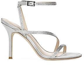 Via Spiga Women's Pavlina Embellished Metallic Satin Strappy Sandals