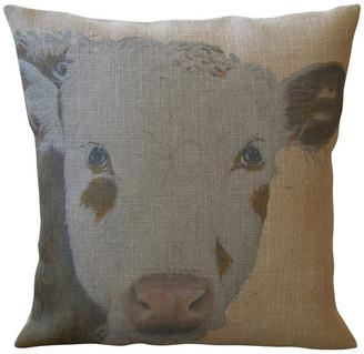 """Polkadot Apple Pillows Rustic Cow Burlap Pillow, 16""""x16"""""""