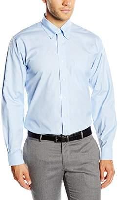 Brooks Brothers Men's Dress Non-Iron Botton Down Regent Shirt, Light/Pastel Blue 62, (Neck in. 17 Sleeve in. 36)