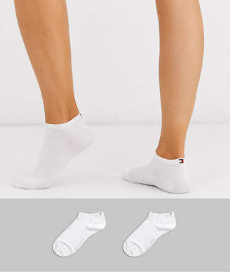 Tommy Hilfiger 2 pack sneaker sock with logo in white
