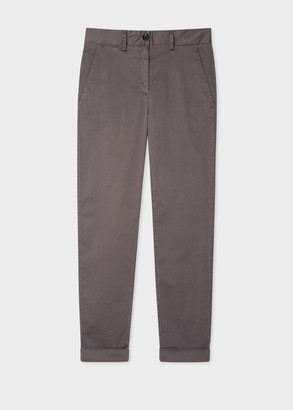 Paul Smith Women's Charcoal Grey Stretch-Cotton Chinos
