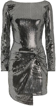Jovani Metallic Gathered Mini Dress