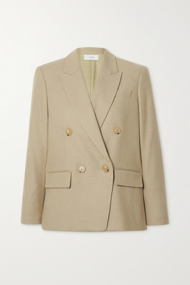 Vince Double-breasted Flannel Blazer - Beige