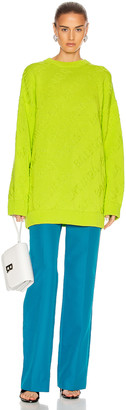Balenciaga Long Sleeve Logo Crewneck Sweater in Lime | FWRD