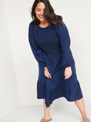 Old Navy Smocked Chambray Fit & Flare Plus-Size Midi Dress