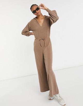 ASOS DESIGN rib hoodie jumpsuit in chocolate brown