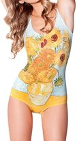 Janeyer® Women's Digital Print One Piece Swimsuit Swimwear Bikini Beachwear Sunflower (Yellow)