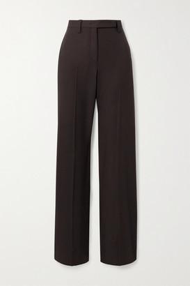 Salvatore Ferragamo Wool-twill Straight-leg Pants - Dark brown