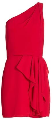 Halston One-Shoulder Drape-Front Mini Dress