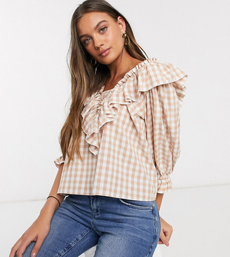Asos DESIGN Petite long sleeve gingham top with ruffle detail