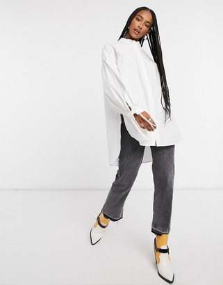 Topshop oversized babydoll blouse in white