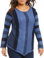 Westbound Plus Point Hem Space Dye Stripe Sweater