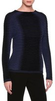 Giorgio Armani Intarsia Ribbed Sweater, Black/Blue