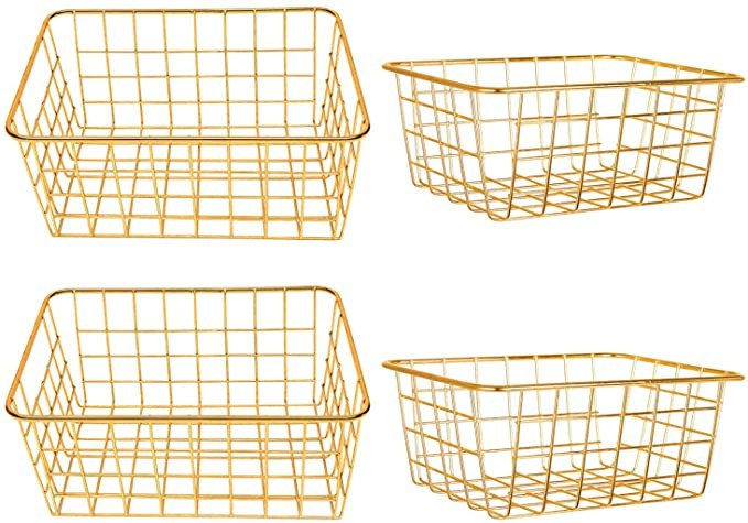 Vlish 4 Gold Wire Baskets - 4 Pack Storage Decor Crafts | Kitchen Bin Organizing Basket Set | Great for Closet, Laundry, Pantry Organization, Tables & Countertops, Office | Large & Small