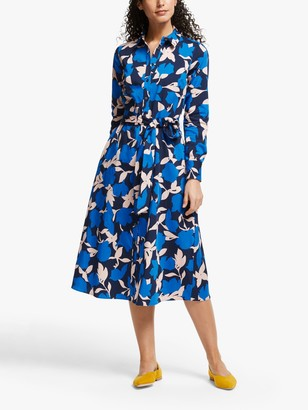 Boden Isodora Cotton Floral Print Shirt Dress, Bold Blue/Clematis