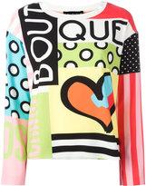 Moschino logo print blouse - women - Polyester/Spandex/Elastane/Rayon/other fibers - 40