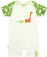 Kushies Green & White Giraffe Organic Cotton Romper - Infant