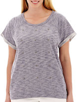 JCPenney A.N.A a.n.a Short-Sleeve High-Low Sweatshirt - Plus