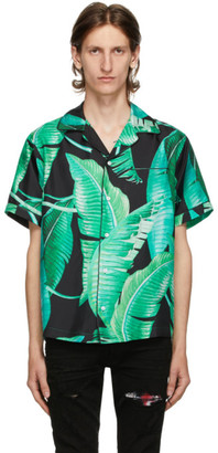 Amiri Green and Black Silk Banana Leaves Pyjama Short Sleeve Shirt