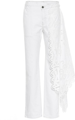 Monse Lace-trimmed high-rise jeans