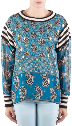 Anna Sui Teal Blue Bouquet Scarf Print Silk Ribbed Trim Tunic Top M