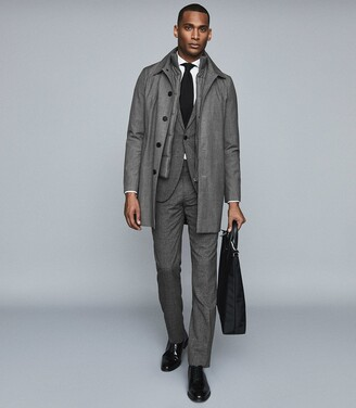 Reiss Caster - Mac With Removable Zip Neck Insert in Grey