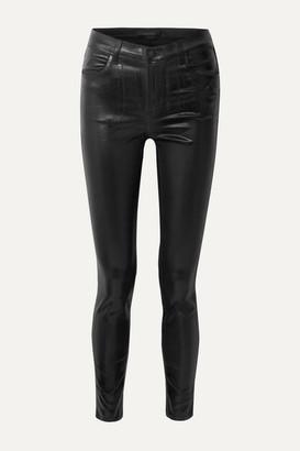 J Brand Maria Coated High-rise Skinny Jeans - Black