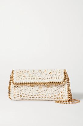 Stella McCartney The Falabella Mini Crocheted Cotton Shoulder Bag - Cream